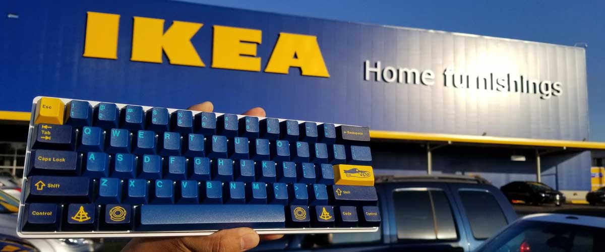 keyboard with the ikea colour scheme