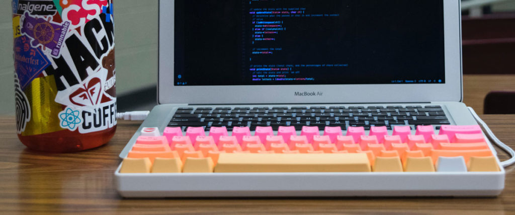 mechanical keyboard with laptop