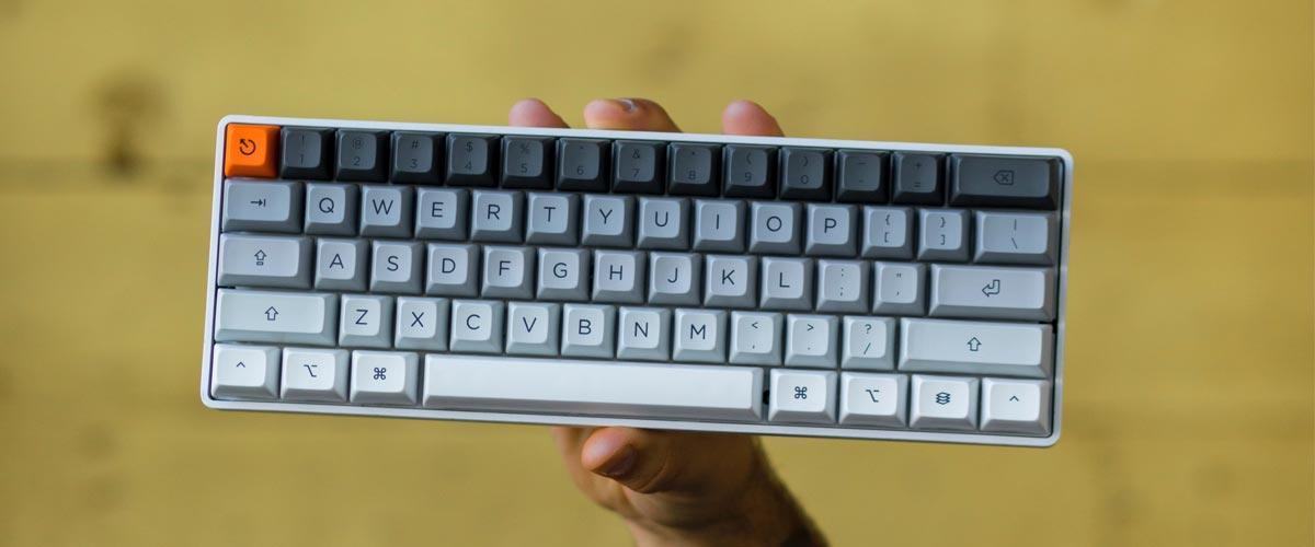 small grey mechanical keyboard